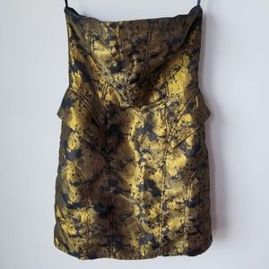 Urban Outfitters Strapless Gold Black Dress Sz 6